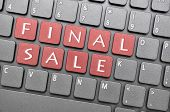 Red final sale key on keyboard