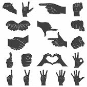 Hands In Different Interpretations. Vector Illustration.