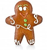 Fun ginger gingerbread man isolated on white background