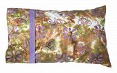 picture of pillowcase  - Travel sized pillow with multi colored pillowcase in green - JPG