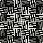 art black graphic geometric seamless pattern, square background with tiled elegant  ornament in art deco style
