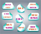 Set of llabels with text - Buy Now, Last Chance, Must Have, Best Offer, Hot Price