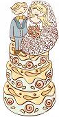 picture of wedding feast  - big wedding cake with figures of bride and groom - JPG