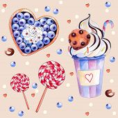 Vector illustration with colorful sweets: cake with blueberries and cream, hot chocolate with a choc