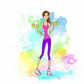 Basic RGBSport woman hold dumbbells fitness trainer, hot sexy girl bodybuilder over colorful splash