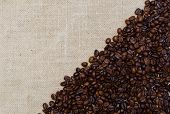 Background Coffee Beans On Burlap