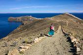 Woman on Path on Isla del Sol in Lake Titicaca, Bolivia