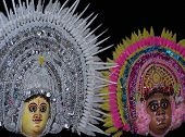 picture of mahabharata  - masks used during dance  - JPG