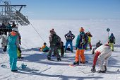 SOCHI, RUSSIA - JANUARY 26, 2015: Tourists in mountain ski resort Rosa Khutor,