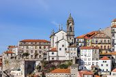 Skyline of the old part of the city of Porto, Portugal, with the Nossa Senhora da Vitoria Church. Unesco World Heritage Site