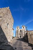 image of dom  - The Medieval Tower on the left and the Porto Cathedral seen through the Dom Pedro Pitoes Street - JPG