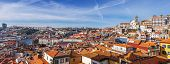 Skyline and cityscape of the city of Porto in Portugal, with a view over the historical districts classified as World Heritage by UNESCO, the Douro River and the city of Gaia.