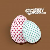 Happy Easter celebration with decorated eggs on brown background.