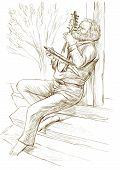 Gadulka Player. An Hand Drawn Full Sized Illustration, Original.