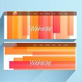 Colorful website header or banner set with menu navigation bar for your business.