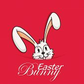 Cute smiling Easter Bunny on red background, can be used as greeting or invitation card design.