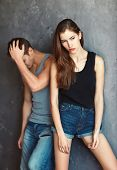 Fashion Beautiful Young Couple In Quarre