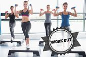 The word work out and four women lifting weights while doing aerobics against badge