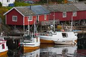 foto of lofoten  - red wooden house at the Lofoten archipelago norway - JPG
