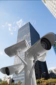 CCTV camera against skyscraper