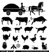 Set of various farm animal icons: horse, cow, goat, sheep, dog, cat, chicken, turkey. Vector illustration. Set of geometrically stylized farm animals.