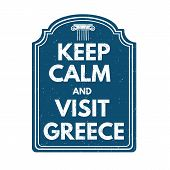 Keep Calm And Visit Greece Stamp