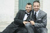 picture of gay wedding  - Portrait of a loving gay male couple on their wedding day - JPG