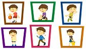 Illustration of a boy in different photo frames
