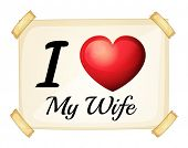 Illustration of I love my wife sign