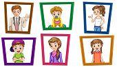 Illustration of family in photo frames