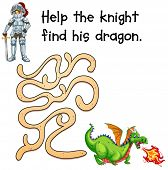 Illustration of a puzzle game with a knight and a dragon