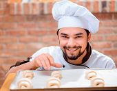 stock photo of croissant  - Cooking croissants - JPG