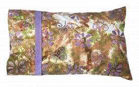stock photo of pillowcase  - Travel sized pillow with multi colored pillowcase in green - JPG