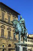 picture of piazza  - bronze equestrian statue of Cosimo I on Piazza della Signoria in Florence Italy - JPG