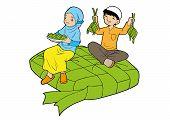 pic of muslim kids  - Muslim little kids together sitting on a big ketupat - JPG