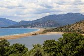 image of dalyan  - View of connection point of salty and fresh water in Iztuzu Beach in Dalyan - JPG