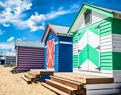 picture of beach hut  - Bathing houses at Brighton Beach Australia - JPG