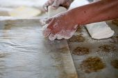 pic of home-made bread  - A baker pulling on freshly made bread dough on a tray showing raw Ciabatta bread ready to be baked - JPG
