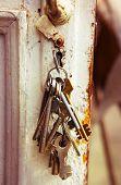 stock photo of skeleton key  - old bunch of keys in the keyhole - JPG