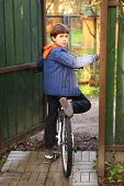 picture of preteens  - preteen handsome country boy with bicycle ready to ride - JPG