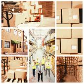 stock photo of entryway  - Warehouse with cardboard boxes against exterior shot of warehouse - JPG