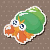 image of hermit crab  - Sea Animal Hermit Crab Cartoon Theme Elements - JPG