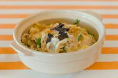 pic of pork cutlet  - pork cutlet vegetable and egg on rice japanese Katsudon - JPG