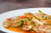 picture of clam  - Stir fried clams with roasted chili paste and thai basil leaves - JPG