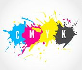 picture of color spot black white  - Printing house logo with ink splashes elements in a CMYK color scheme isolated on white background - JPG