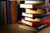stock photo of book-shelf  - Old books on shelf - JPG