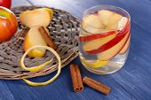 picture of cider apples  - Glass of apple cider with fruits and cinnamon on table close up - JPG