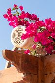 picture of pergola  - Outdoor loudspeaker among red flowers on a pergola top in a garden - JPG