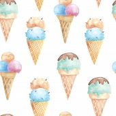stock photo of cone  - Seamless pattern with ice cream waffle cones - JPG