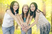 stock photo of joining hands  - Group of pretty teenage girls joining hands together in the nature while enjoy summer holiday - JPG